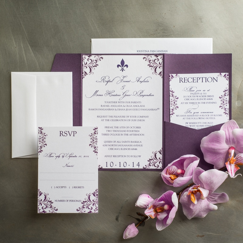 Plum Flourish Pocket Fold Wedding Invitations - Too Chic & Little ...
