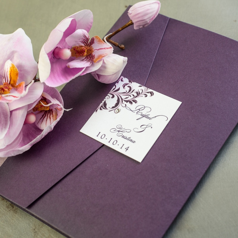 plum wedding invitations