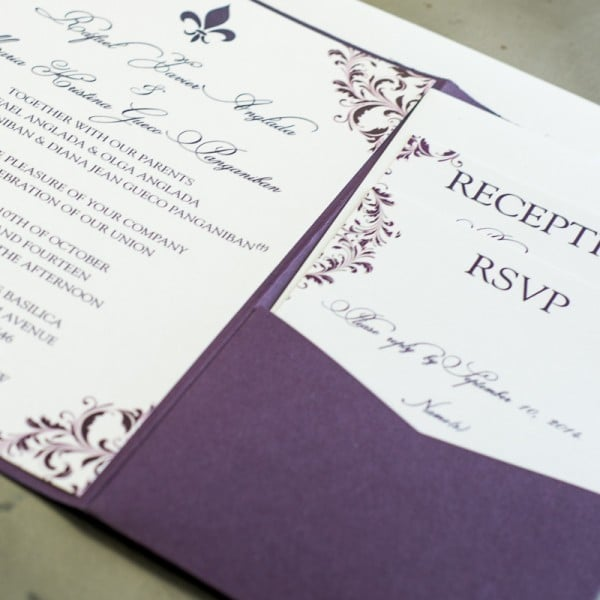 violette pocket fold wedding invitations