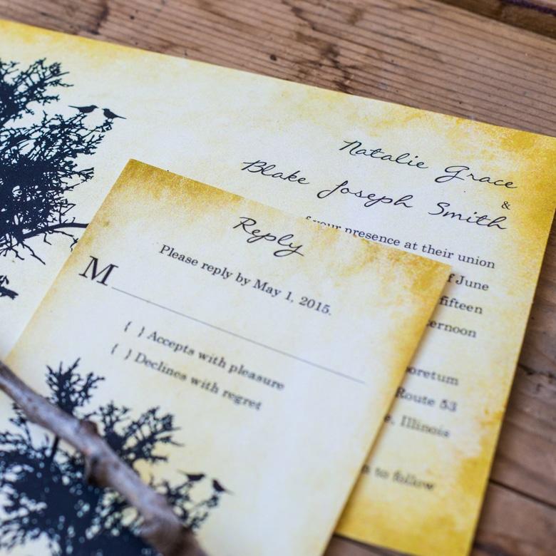 vintage bird wedding invitations