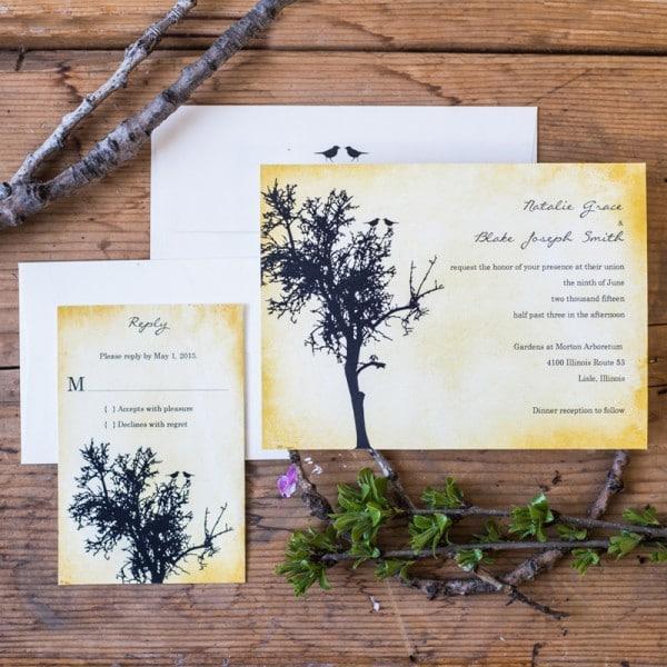 vintage love birds wedding invitations