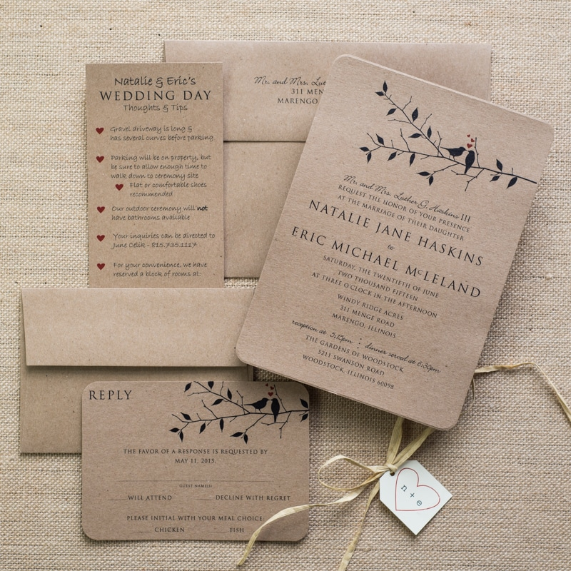 kraft love bird wedding invitations