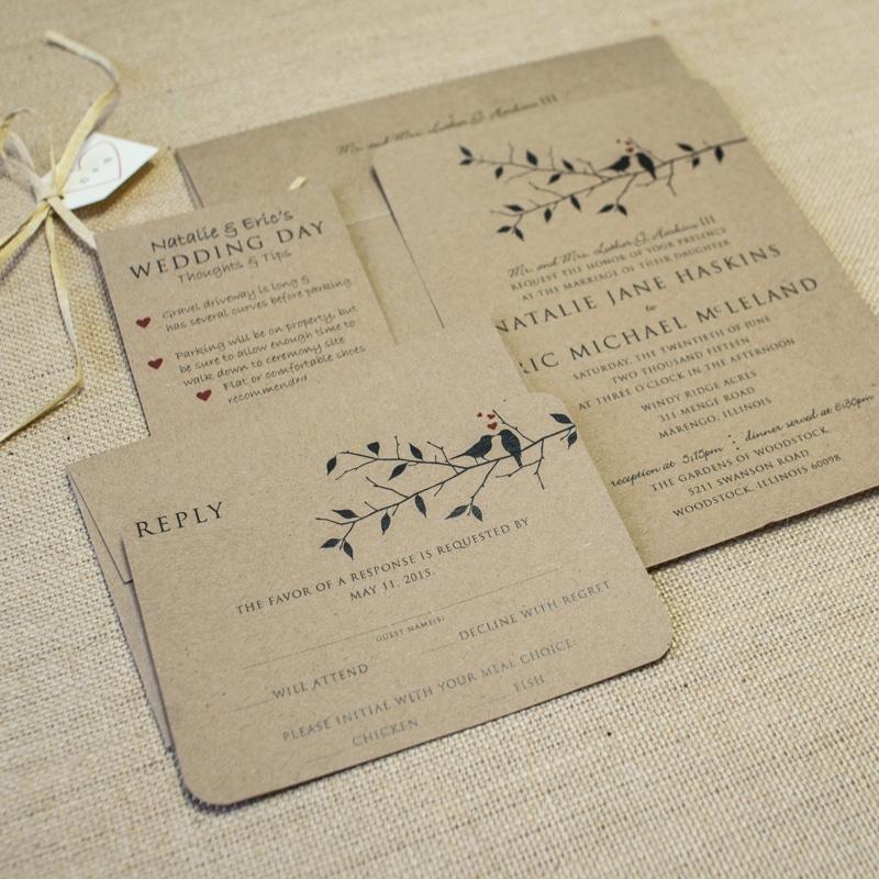 Kraft Love Bird Wedding Invitations