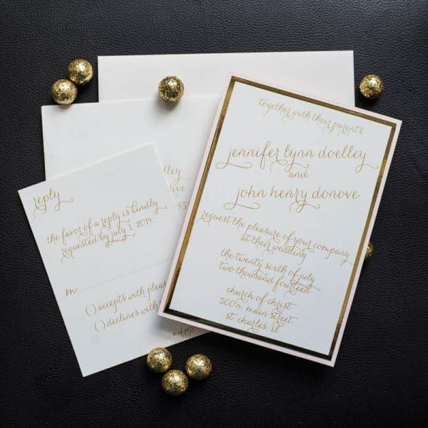 rose quartz wedding invitations