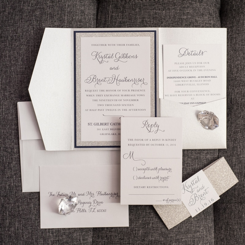 upscale glitter pocket fold wedding invitations a glam affair