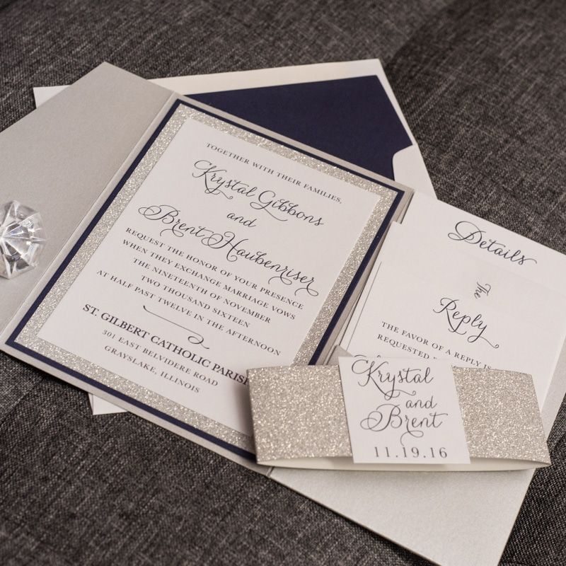 glam affair wedding invitation