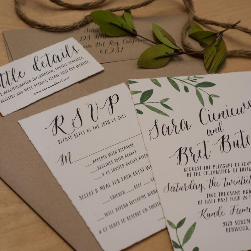 deckled edge wedding invitations