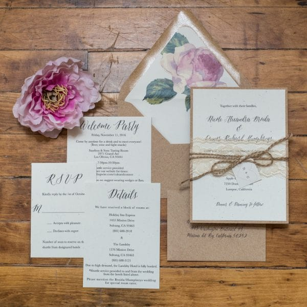rustic chic and rustic vineyard wedding invitations
