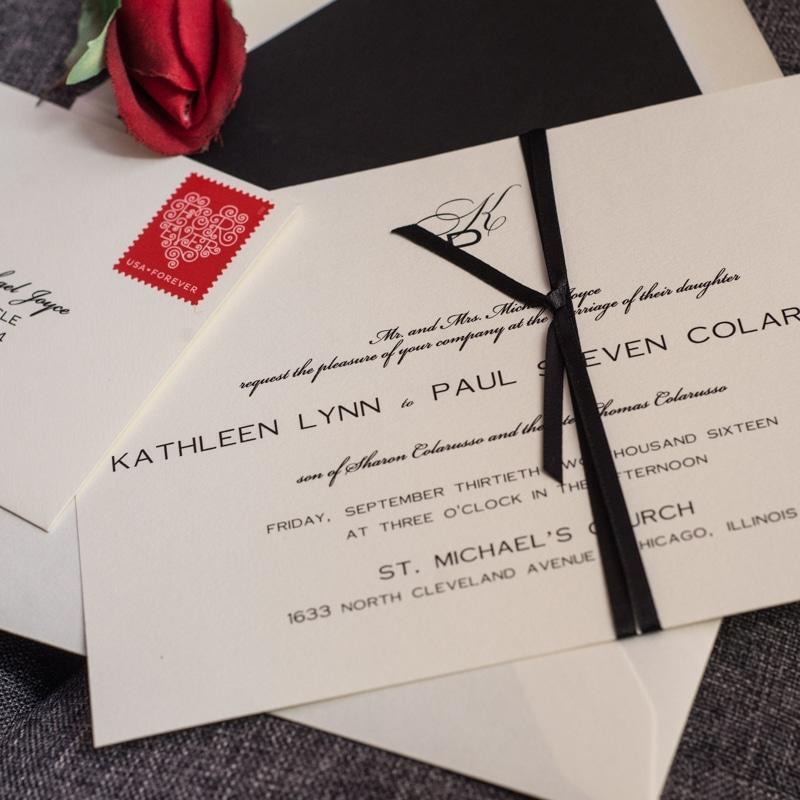 classic cream and black wedding invitations