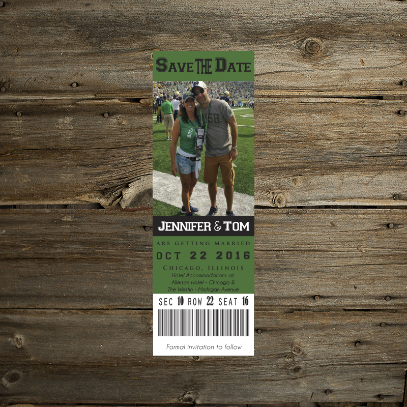 game ticket save the date