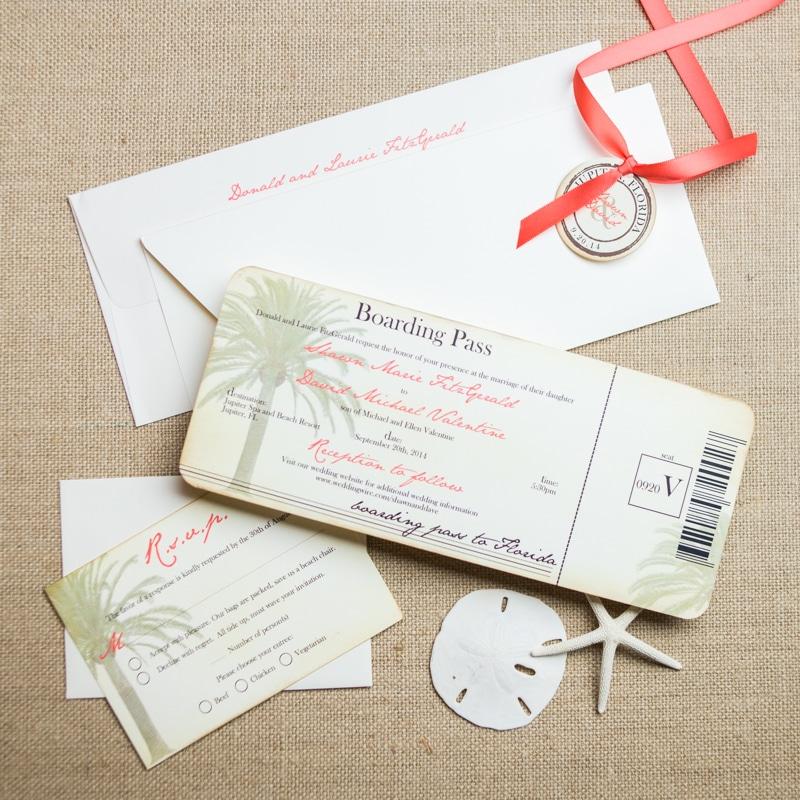 Vintage Boarding Pass Wedding Invitations Too Chic Little Shab