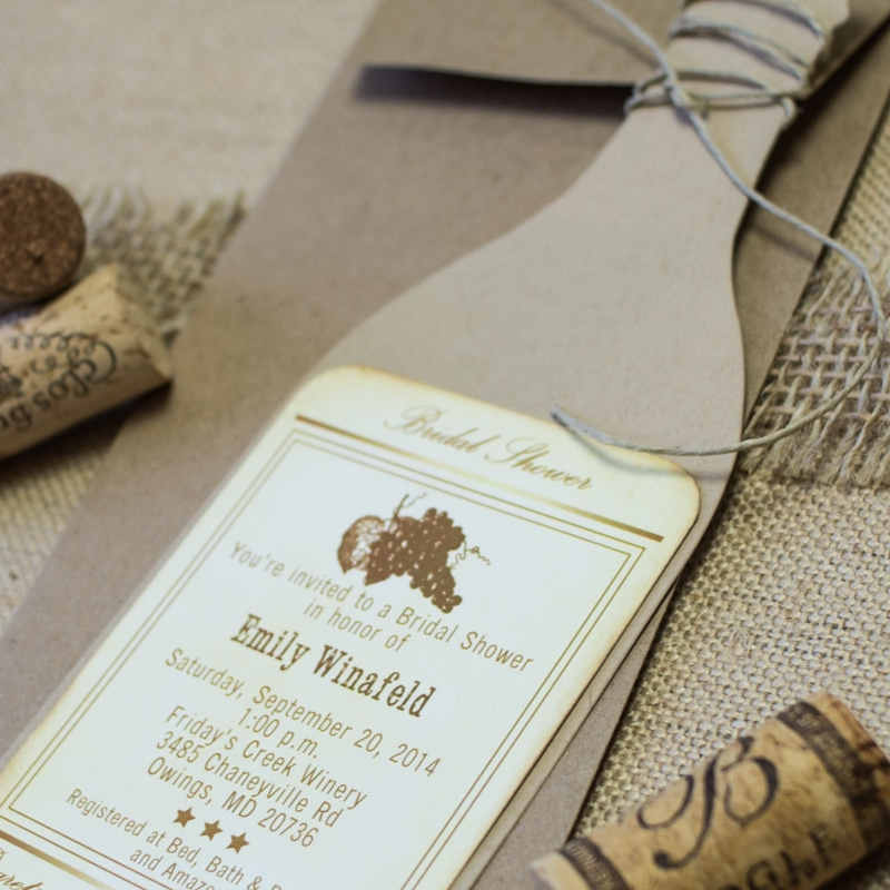 Wine Bottle Bridal Shower Invitations - Too Chic & Little Shab ...