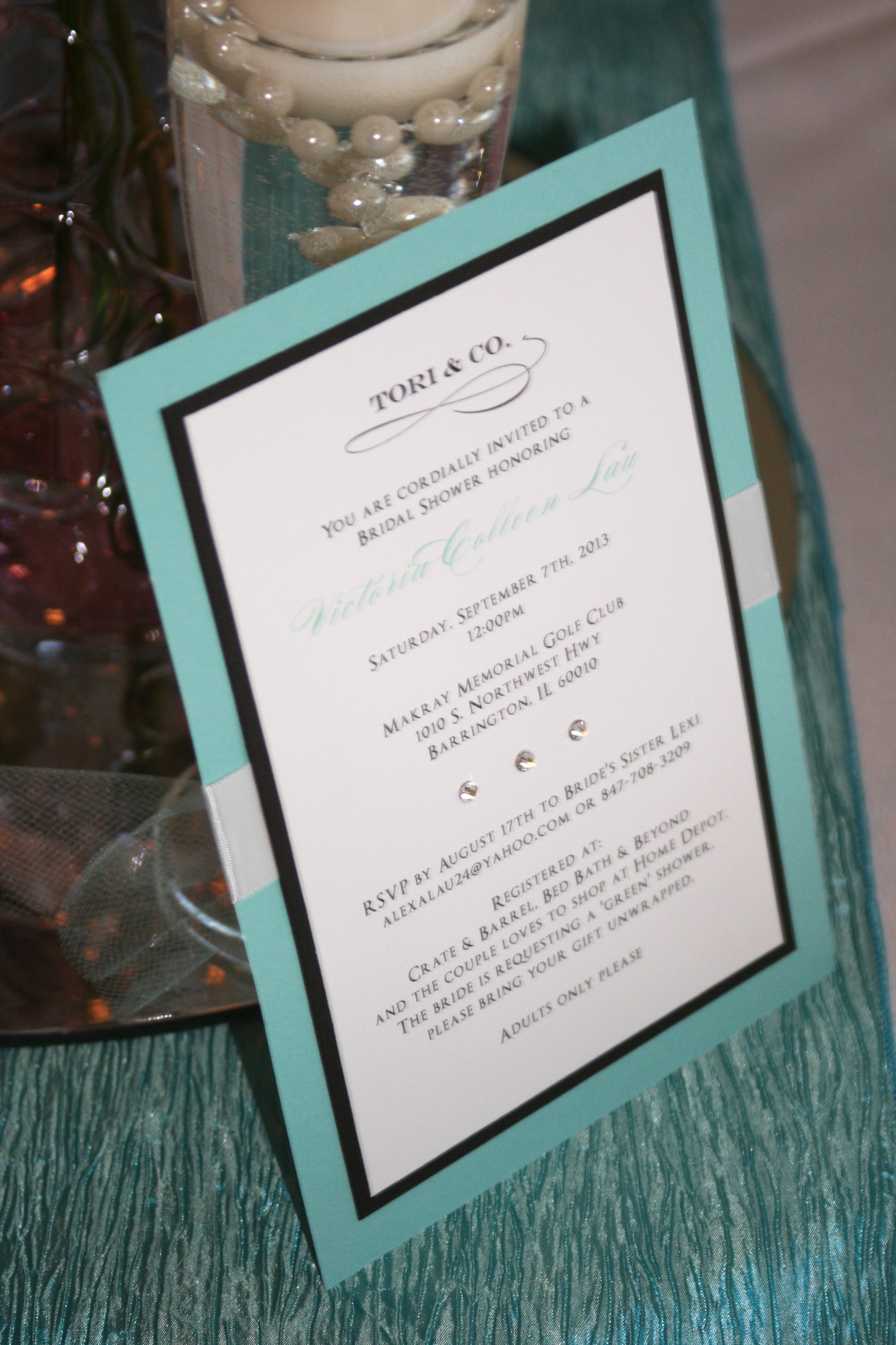 Tiffany Themed Bridal Shower Invitations - Too Chic & Little Shab ...