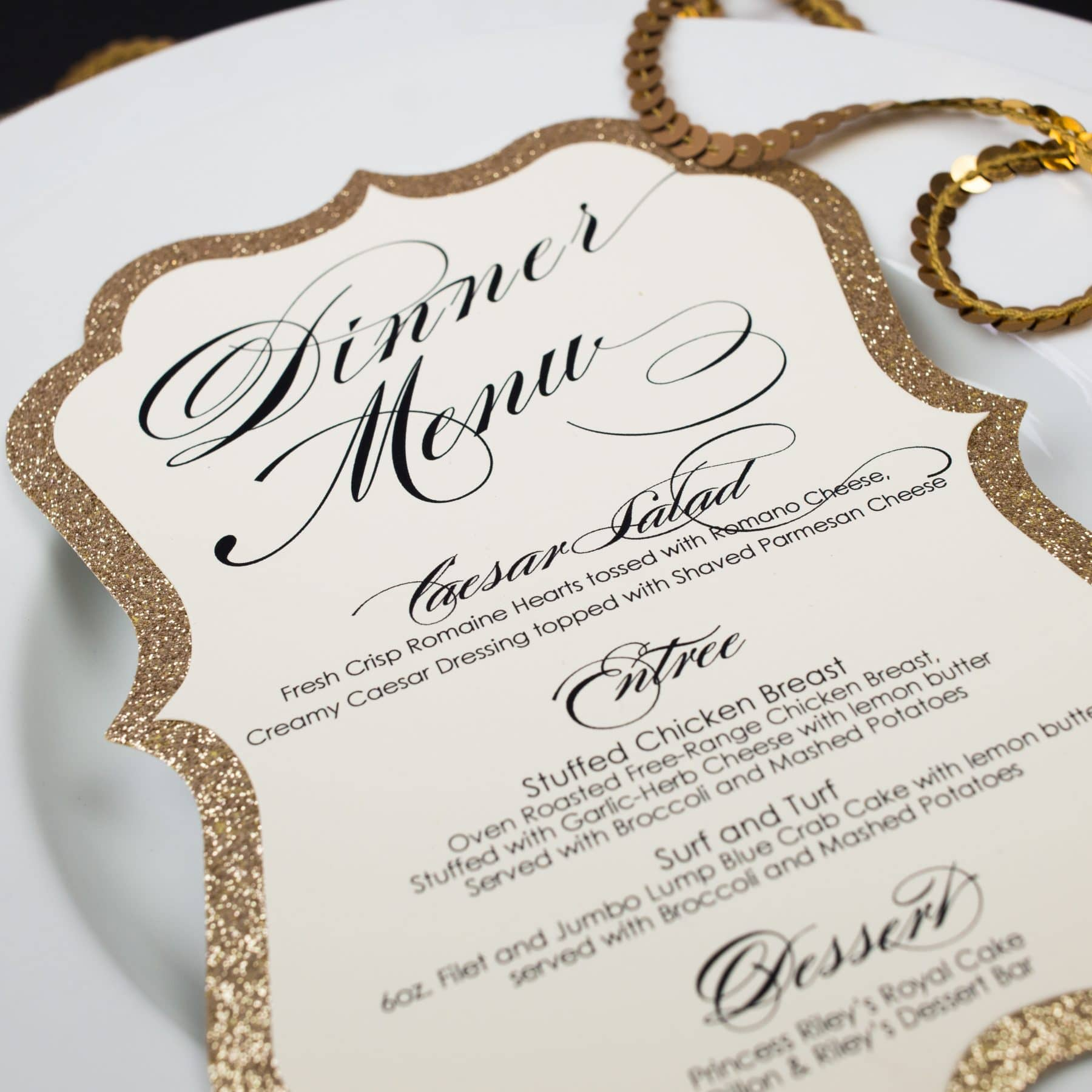Glitter wedding menus too chic little shab design studio inc glitter wedding menus junglespirit Choice Image