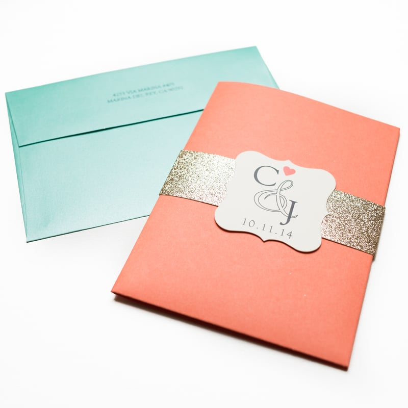 Coral Colored Wedding Invitations: Coral And Turquoise Wedding Invitations