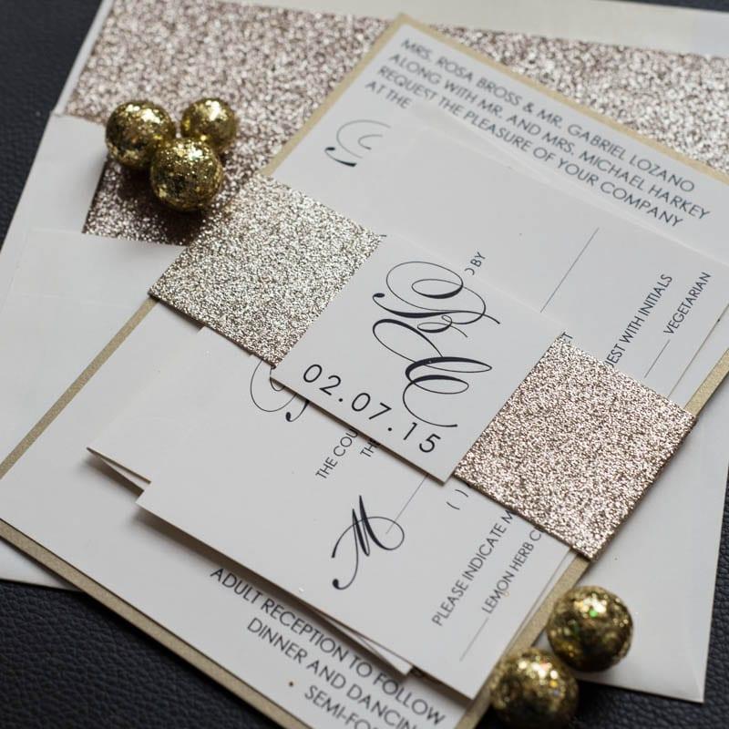 champagne glitter wedding invitations too chic little shab