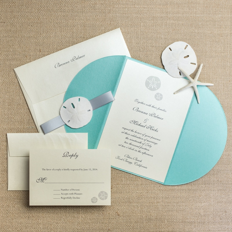 Sand Dollar Wedding Invitations - Too Chic & Little Shab Design ...