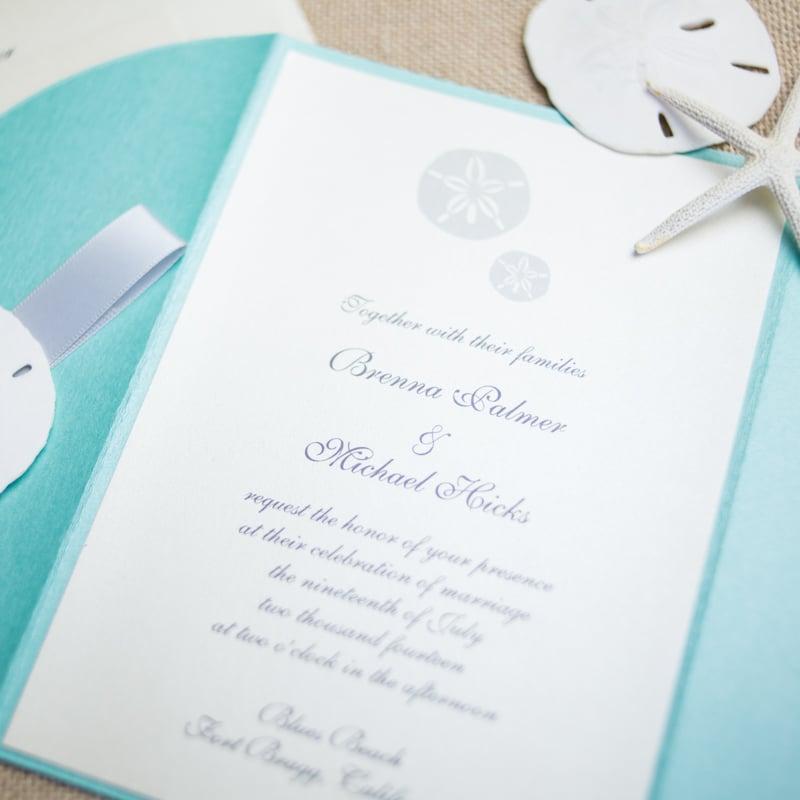 Greatest Sand Dollar Wedding Invitations - Too Chic & Little Shab Design  MV43