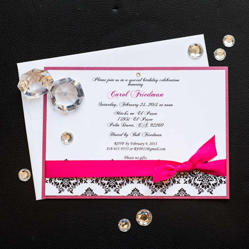 Damask Birthday Invitations - Too Chic & Little Shab Design Studio, Inc.