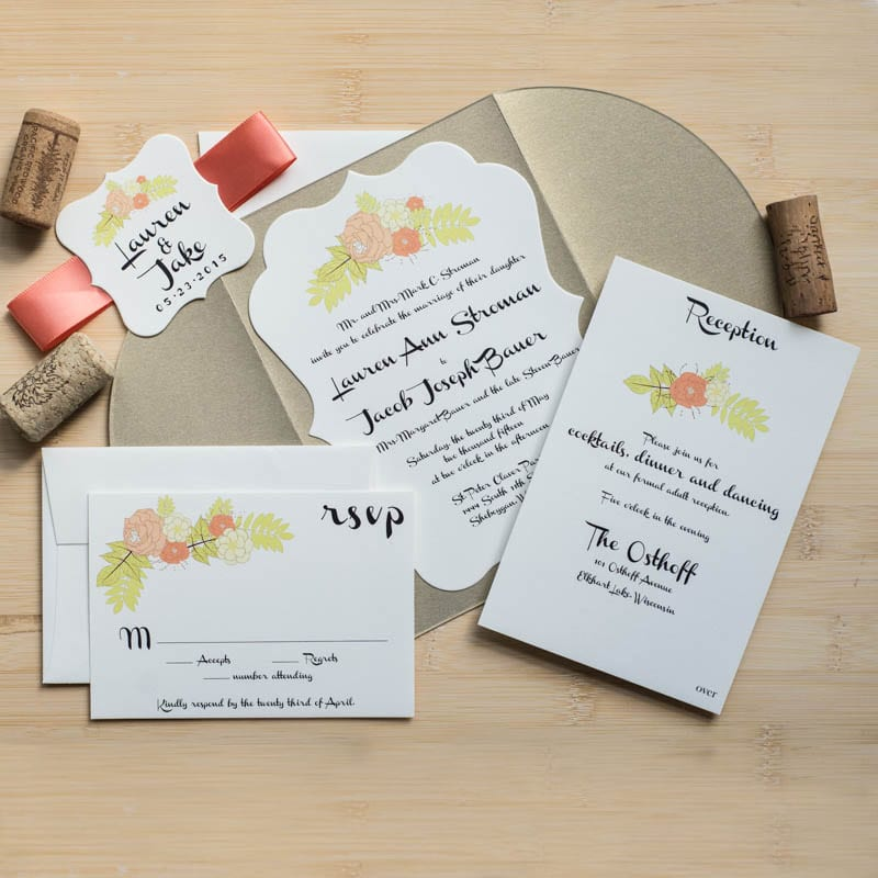 Vintage Floral Wedding Invitations - Too Chic & Little Shab Design ...