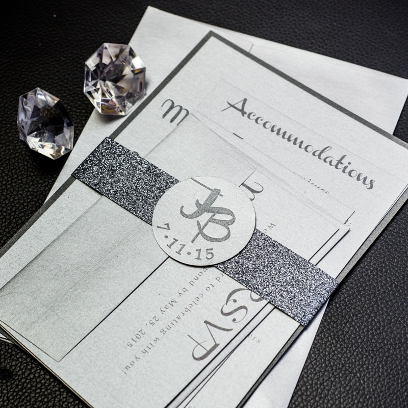 charcoal wedding invitations