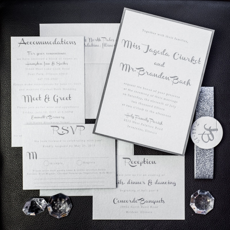 silver charcoal wedding invitations