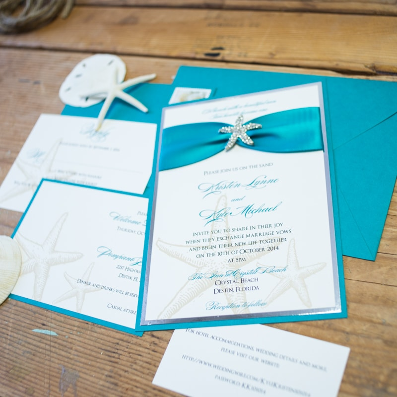 Teal Beach Wedding Invitations - Too Chic & Little Shab Design ...