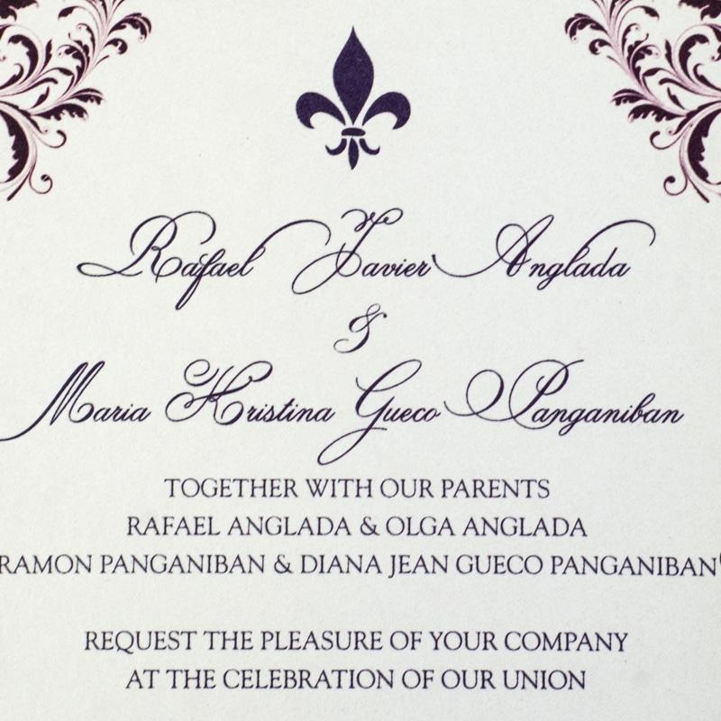 purple scroll wedding invitations