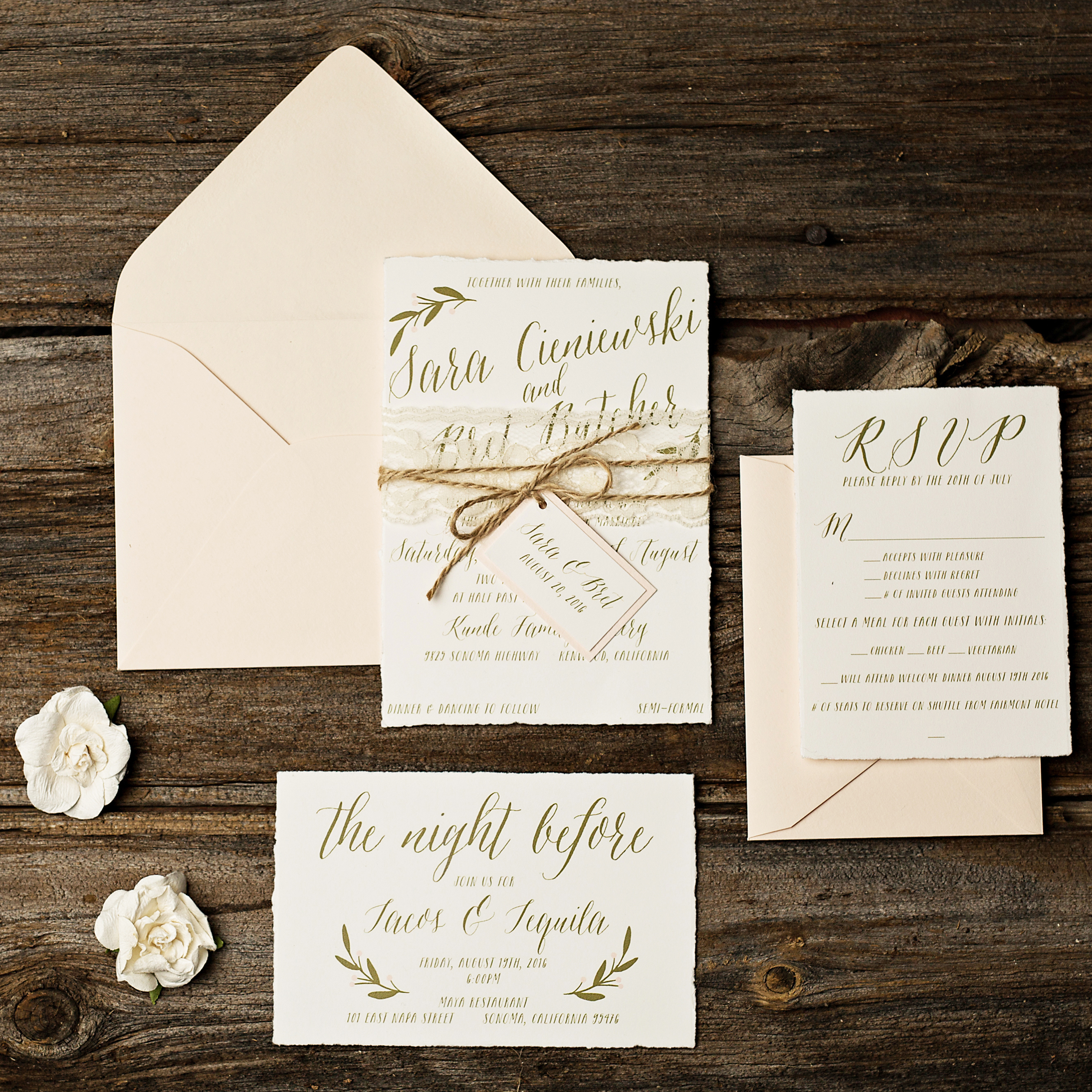 Rustic Vineyard Wedding Invitations Too Chic Little Shab Design