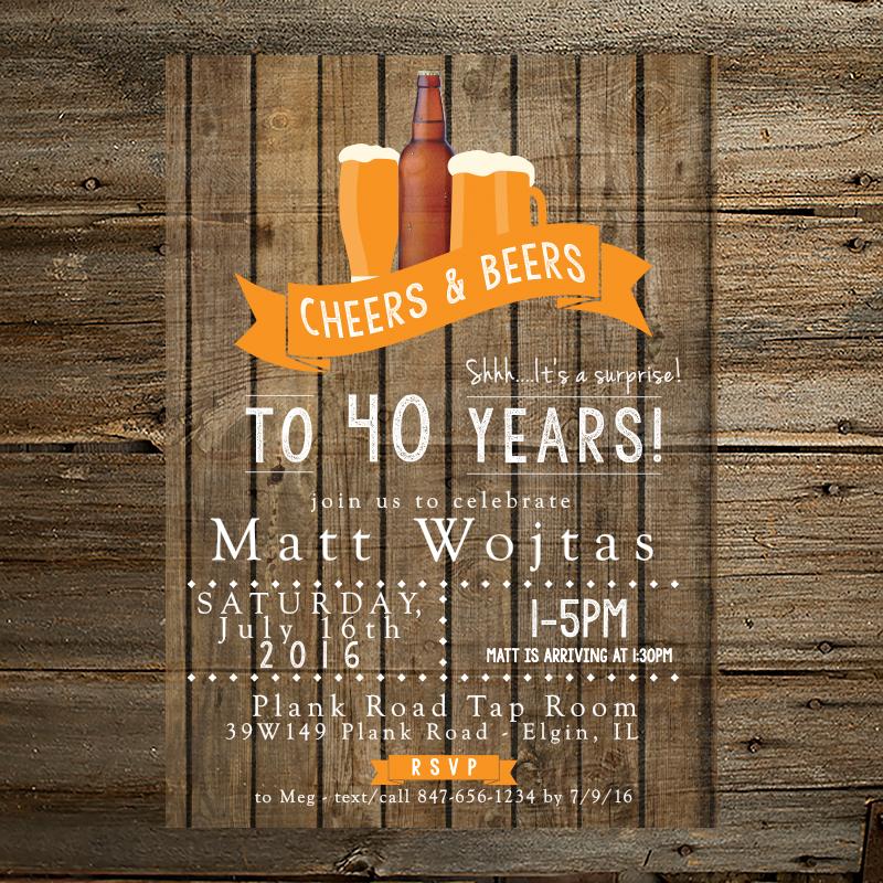 Cheers Beers 40th Birthday Invitation