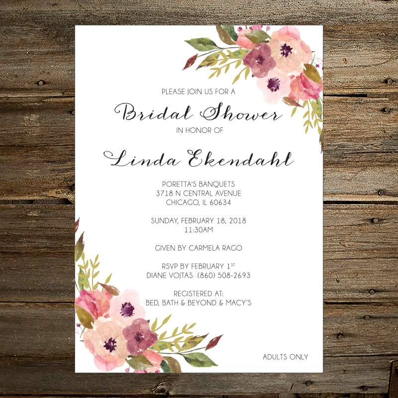 Floral bridal shower invitation too chic little shab design floral bridal shower invitation filmwisefo