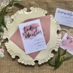 dusty rose watercolor wedding invitation